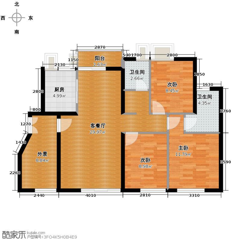 勤诚达雅阁国际94.21㎡7#三-五层平面图B1(115m2)户型10室