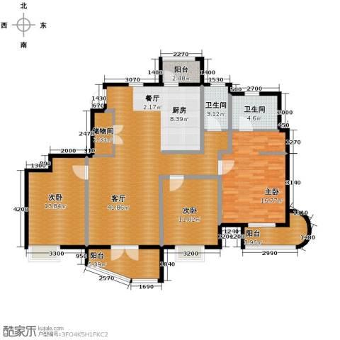 经纬城市绿洲滨海3室2厅2卫0厨143.00㎡户型图