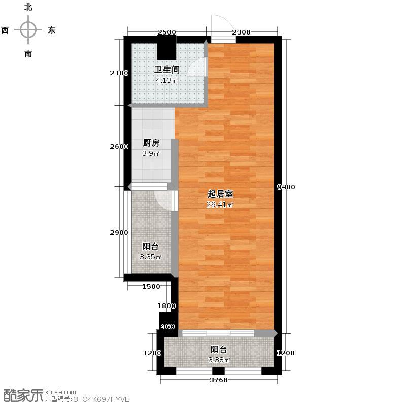 中信新城53.96㎡5号栋F户型1室1厅1卫
