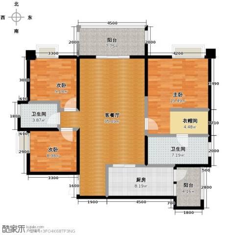 协信阿卡迪亚3室1厅2卫1厨109.00㎡户型图