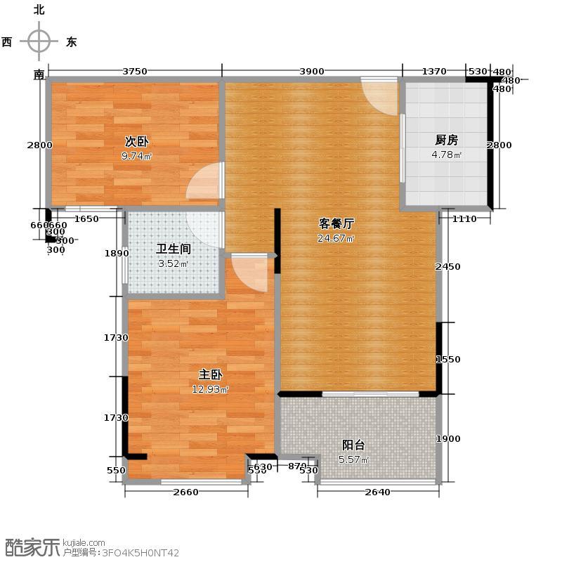 恒生碧水龙庭77.00㎡D1户型2室2厅1卫