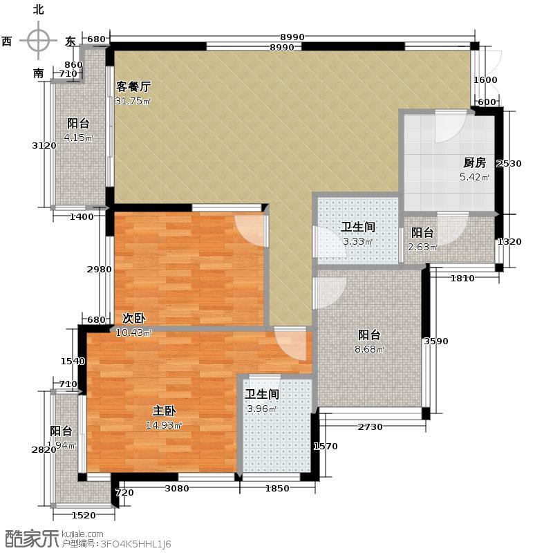 融汇温泉城102.00㎡锦华里3号楼E户型2室1厅2卫1厨