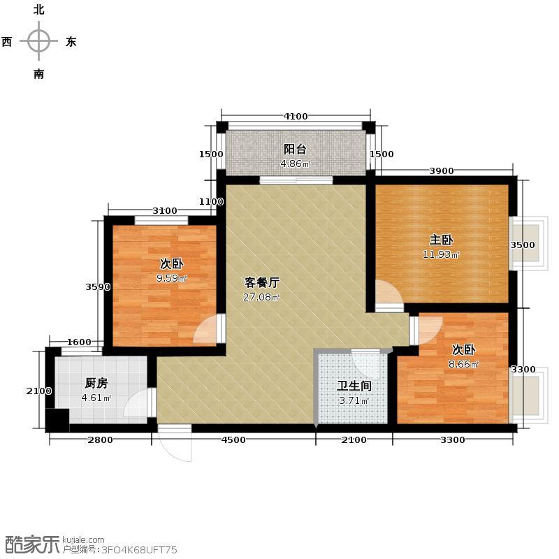锦尚名城99.47㎡D户型3室2厅1卫