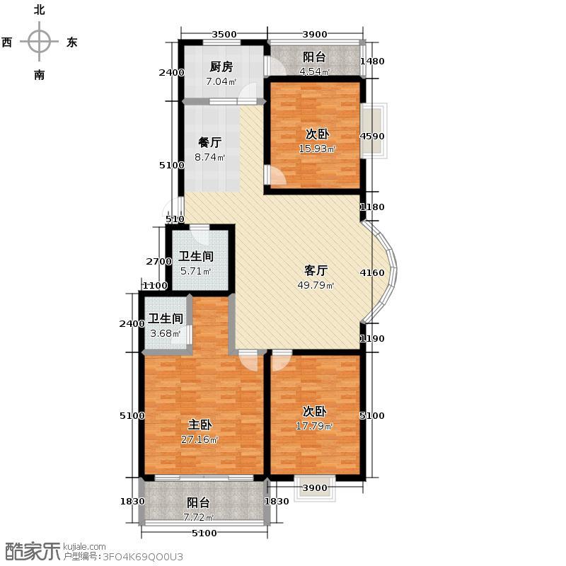 华峪东区187.27㎡4号楼f户型3室1厅2卫1厨