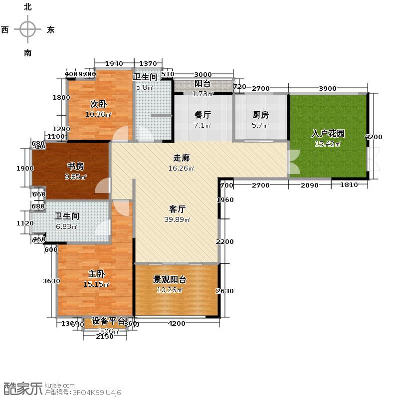 武夷滨江122.00㎡B户型3室2厅2卫