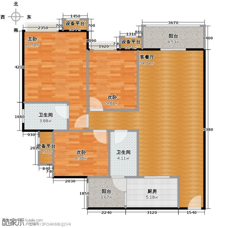 富力城94.00㎡E7栋1号户型3室2厅2卫