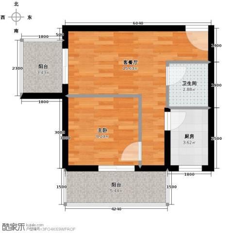 捷瑞新时代1室1厅1卫1厨59.00㎡户型图