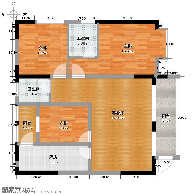 泽科港城国际80.16㎡3栋5/8号房增送户型3室1厅2卫1厨