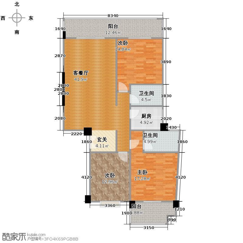 锦秀豪庭145.75㎡户型3室1厅2卫1厨