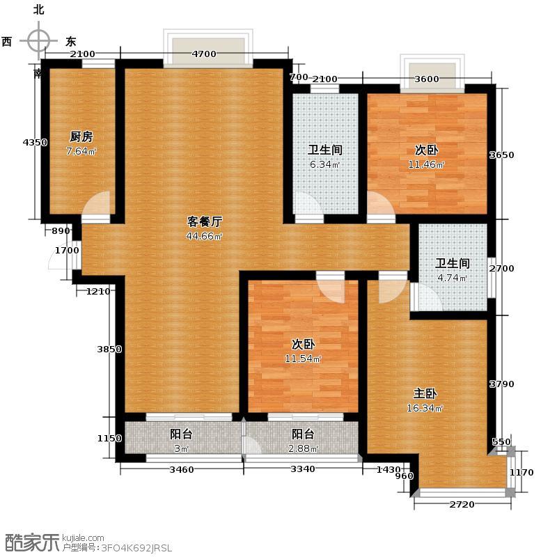 鲁商蓝岸国际140.00㎡二期A户型3室1厅2卫1厨