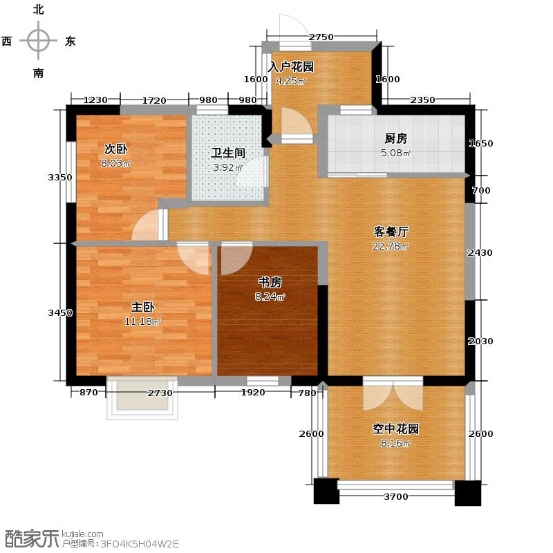 熙望87.00㎡2011年1月在售C2建面87偶户型3室1厅1卫1厨