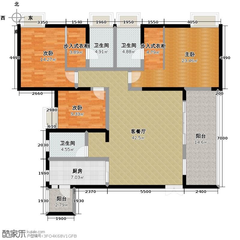 协信阿卡迪亚141.04㎡A3-1户型3室1厅3卫1厨