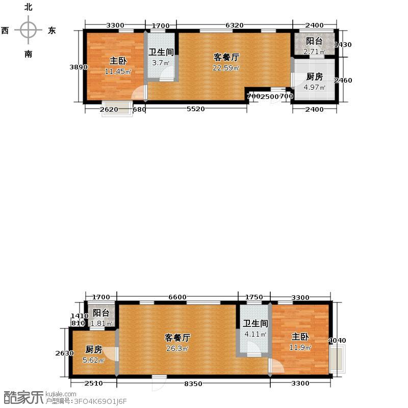 格调艺术领地107.71㎡1-2-3号楼户型2室1厅1卫