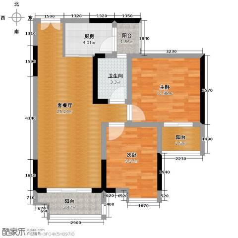 春江花月2室1厅1卫1厨66.00㎡户型图
