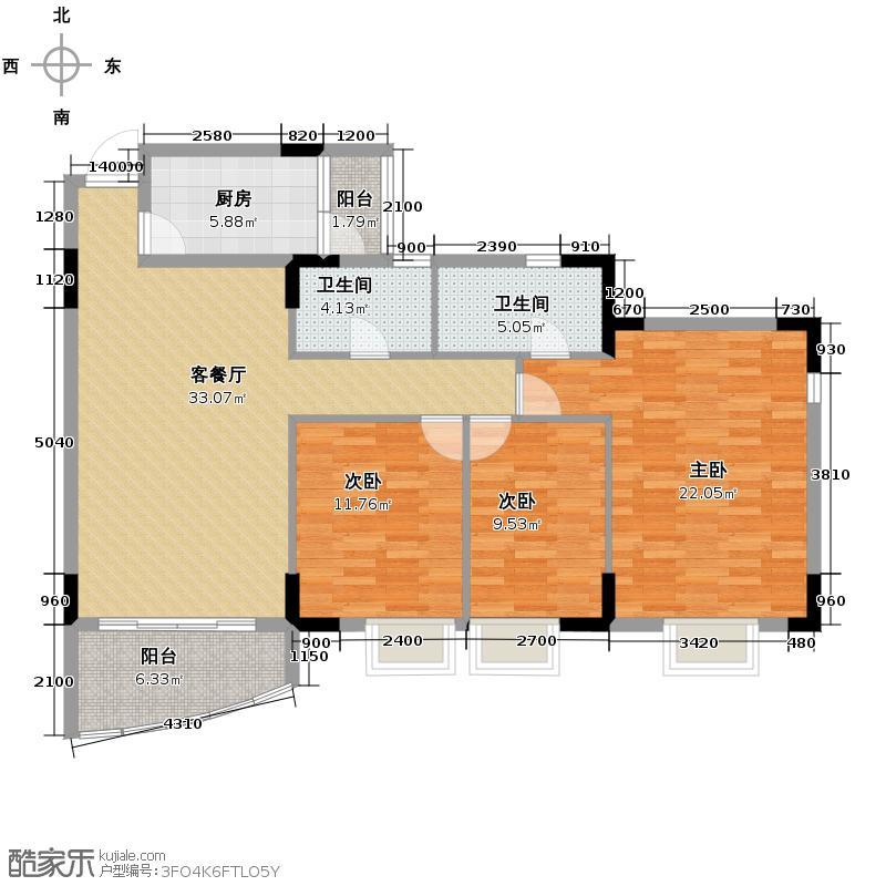 三正世纪豪庭111.77㎡户型3室1厅2卫1厨