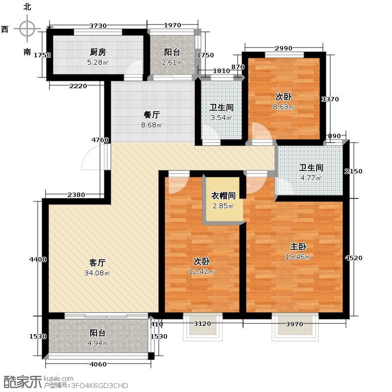 颐和盛世127.12㎡23、24号楼L3户型3室2厅2卫