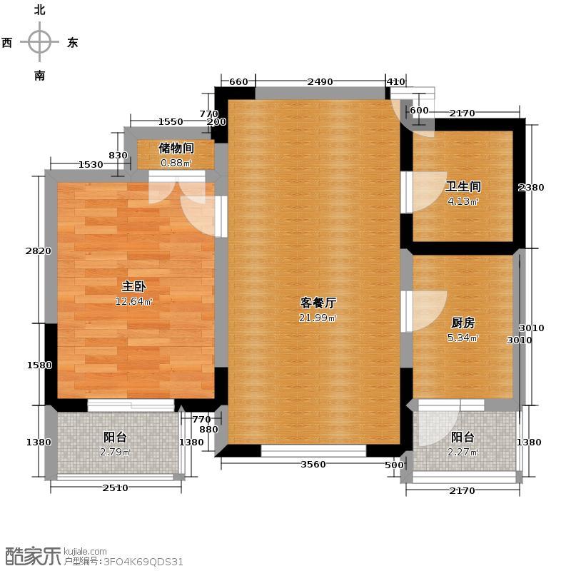 金旺水岸58.44㎡单体平面图户型10室