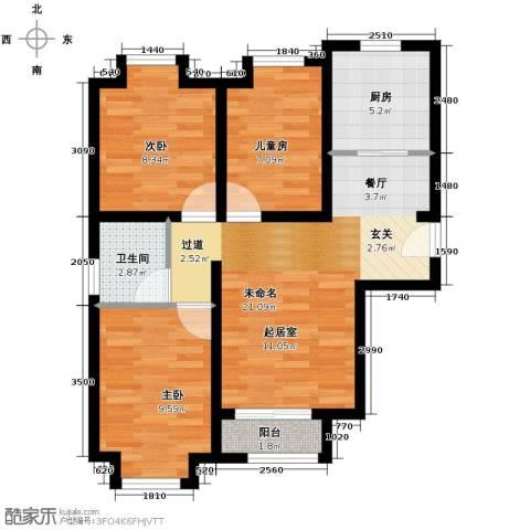 绿宸万华城3室2厅1卫0厨97.00㎡户型图