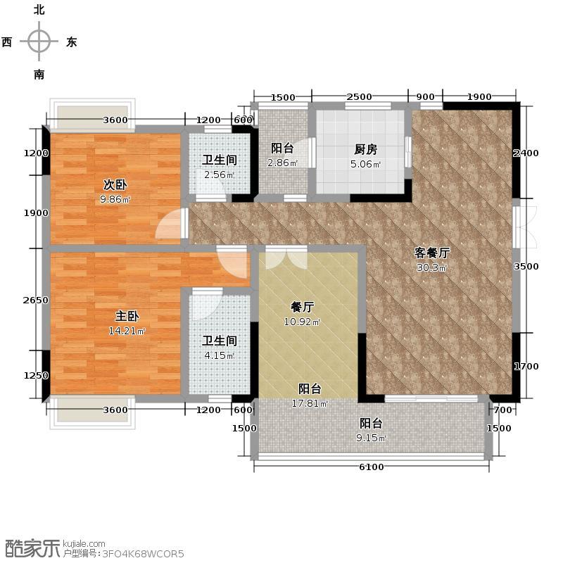 春语江山103.76㎡4号楼3号房套内8614户型2室2厅2卫