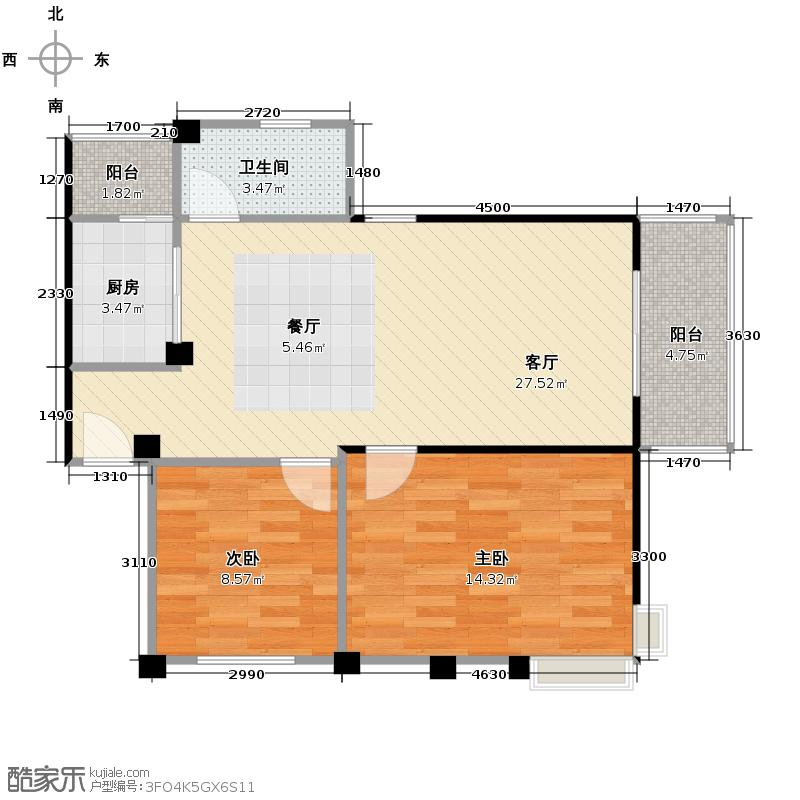 鼎秀风林69.35㎡6-20&nbsp&nbspD户型2室1厅1卫1厨
