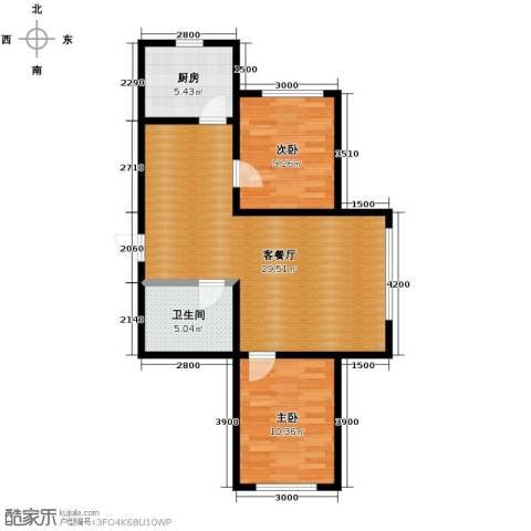 御景名家2室2厅1卫0厨85.00㎡户型图