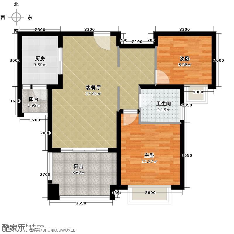 嘉楠美地79.15㎡一期1、2、3、4号楼D3户型2室2厅1卫