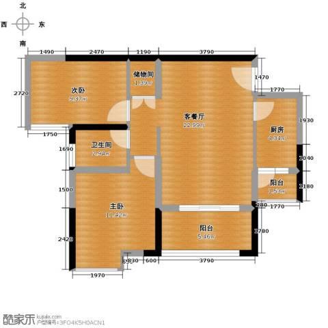 银诚东方国际2室2厅1卫0厨75.00㎡户型图
