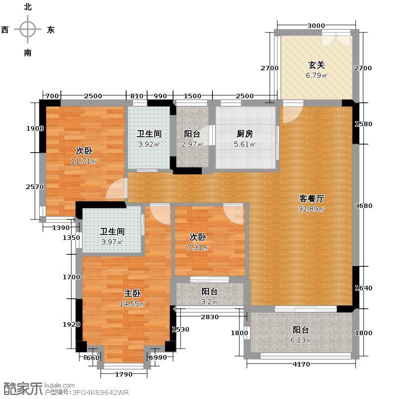 金沙御苑115.56㎡O-户型3室1厅2卫1厨