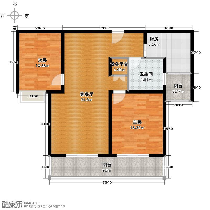 华仁凤凰城103.99㎡B1户型2室2厅1卫