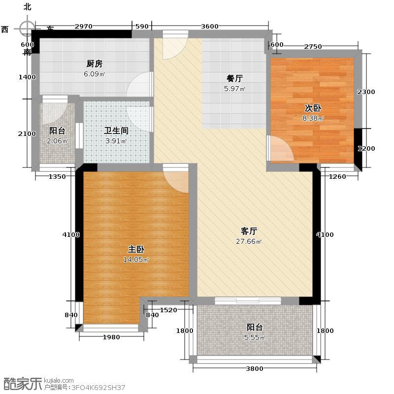 外滩三阳金城92.21㎡C1-2户型2室1厅1卫1厨