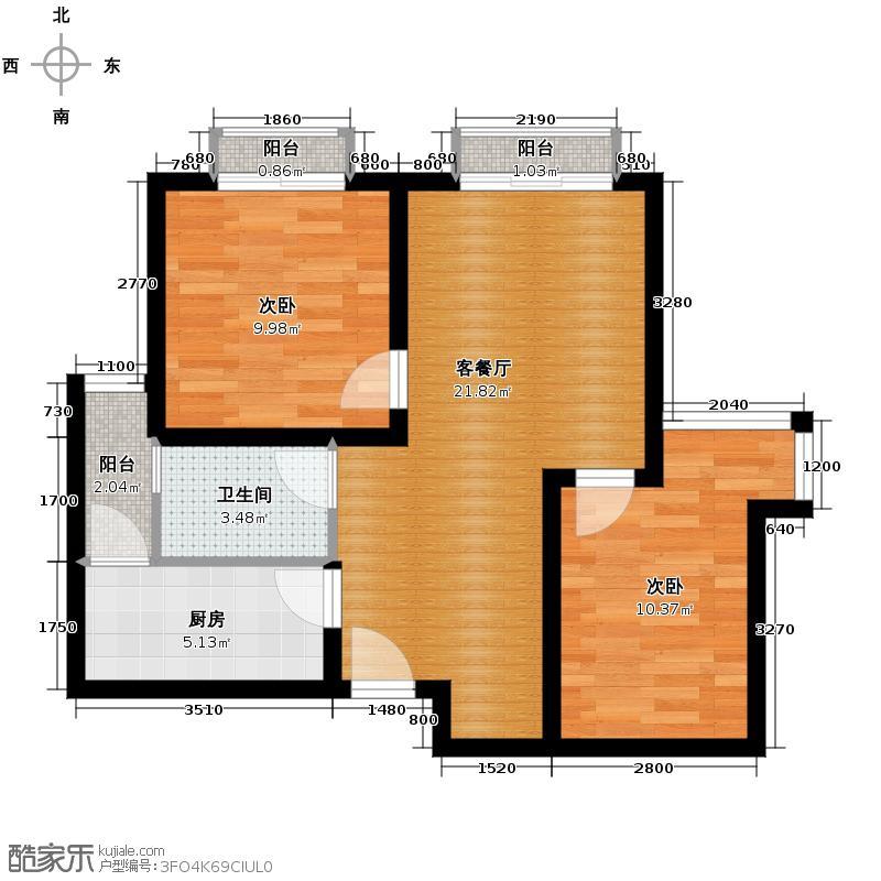 蓝光SOFA社区72.00㎡b3户型2室1厅1卫1厨