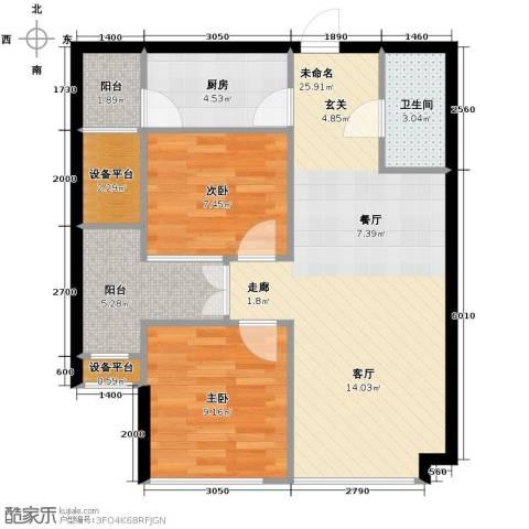 锦业时代2室1厅1卫0厨70.00㎡户型图