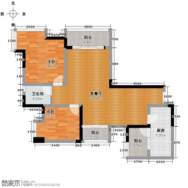 东原D7区101.19㎡C单卫+景观阳台户型2室2厅1卫