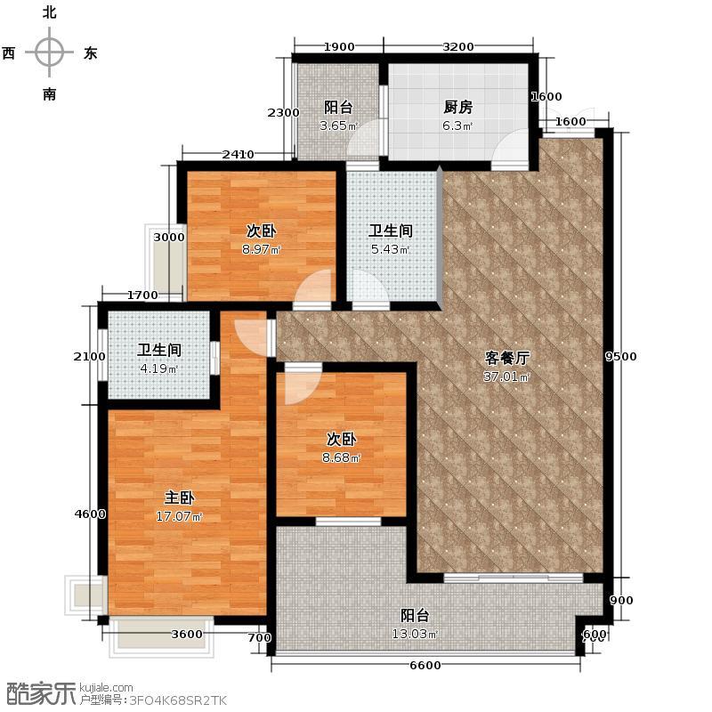 江润地中海岸107.16㎡高层A户型10室