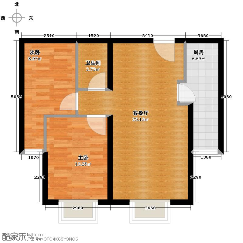 上上城青年社区二期61.03㎡F-2-2户型2室1厅1卫1厨