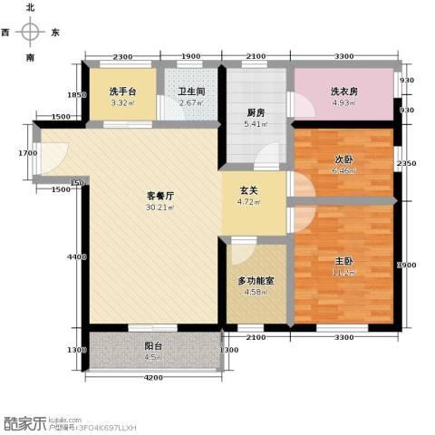 花漾年华2室1厅1卫1厨95.00㎡户型图