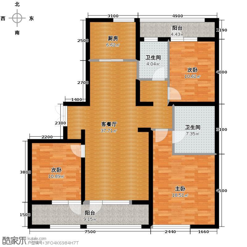 绿城理想之城140.00㎡西子公寓B2户型3室2厅2卫