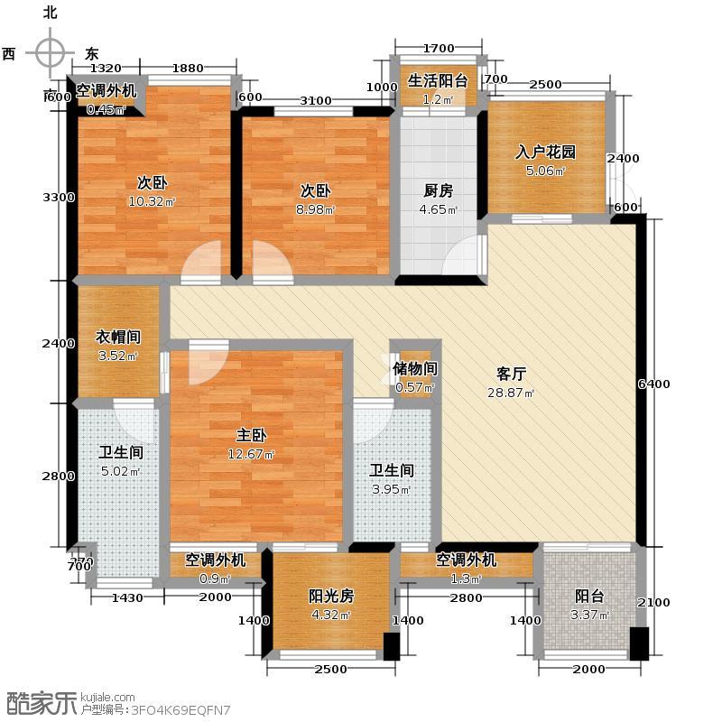 南方玫瑰城117.62㎡黄瑰苑标准层1、7、8幢1单元1号、2单元2号房3室户型3室1厅2卫1厨