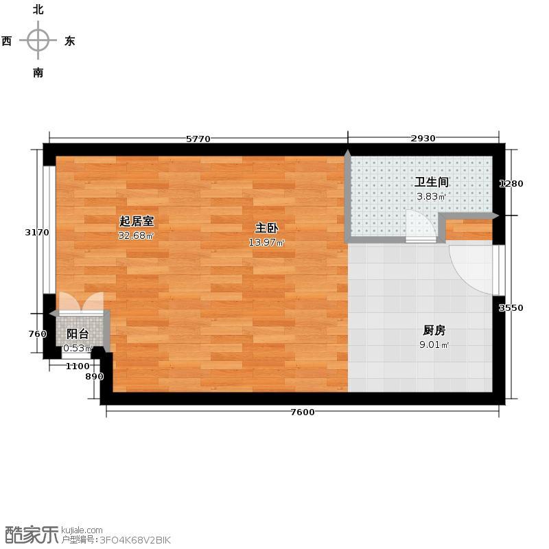 北京华贸城54.59㎡13、14号楼S-01一居室户型10室