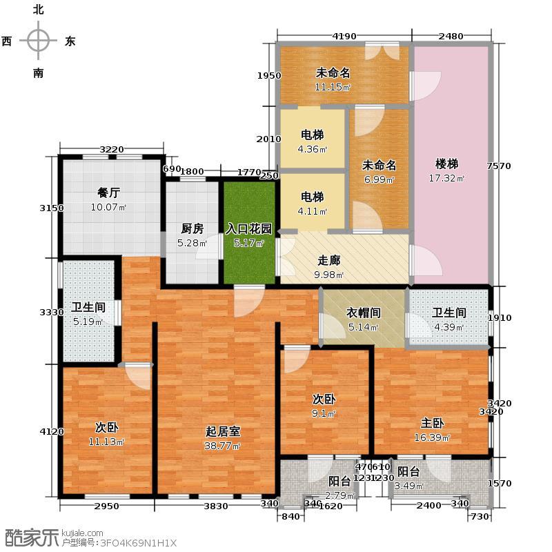 金岸红堡162.93㎡红堡澜廷户型10室