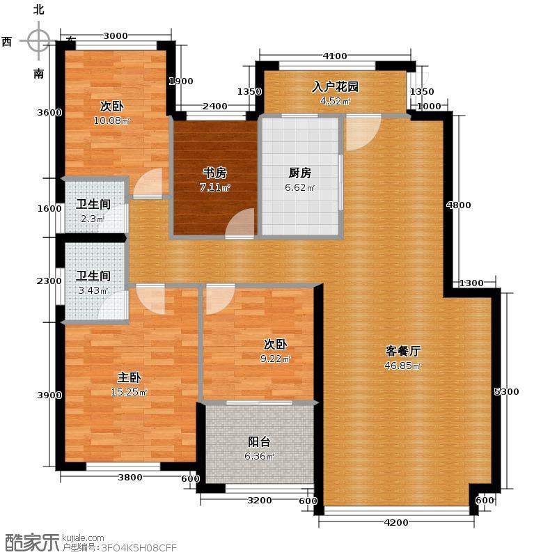 翡翠云天138.65㎡J户型3室2厅1卫