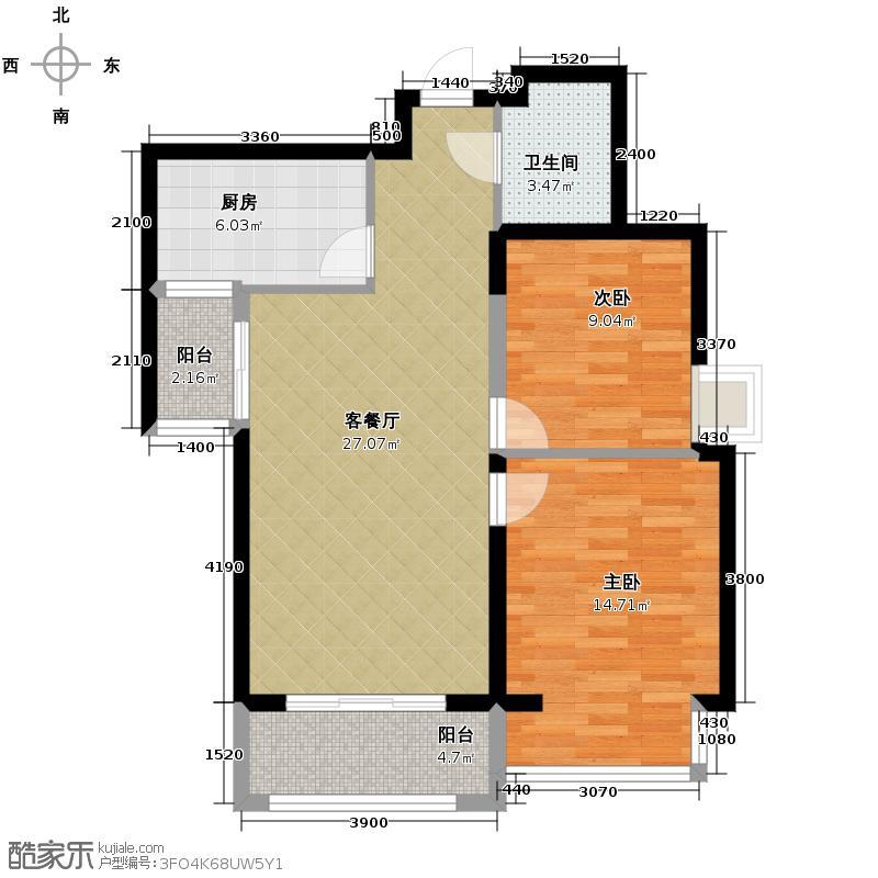 高山流水和城93.00㎡B户型2室2厅1卫
