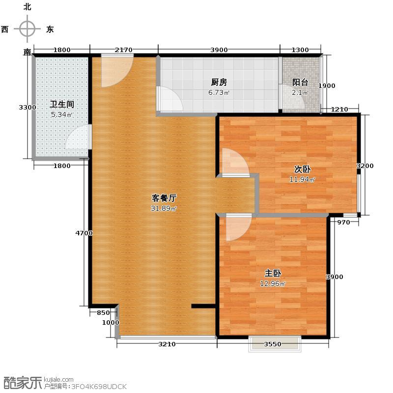 碧鸿海悦园66.56㎡户型2室1厅1卫1厨