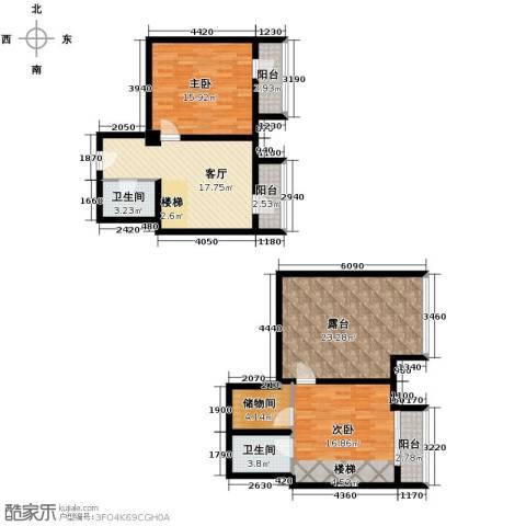 曲江澜山2室1厅2卫0厨118.00㎡户型图