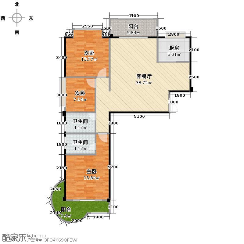 锦秀豪庭110.44㎡户型3室1厅2卫1厨