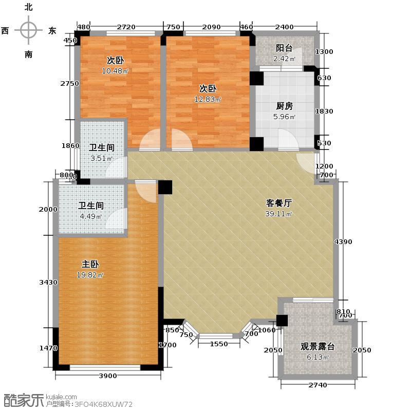 润扬双河鹭岛114.00㎡洋房4-A-3户型3室2厅2卫