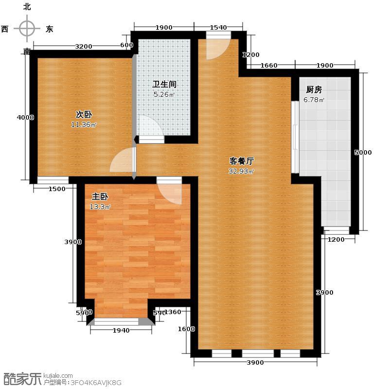 泰达御海100.00㎡二期G2户型2室2厅1卫