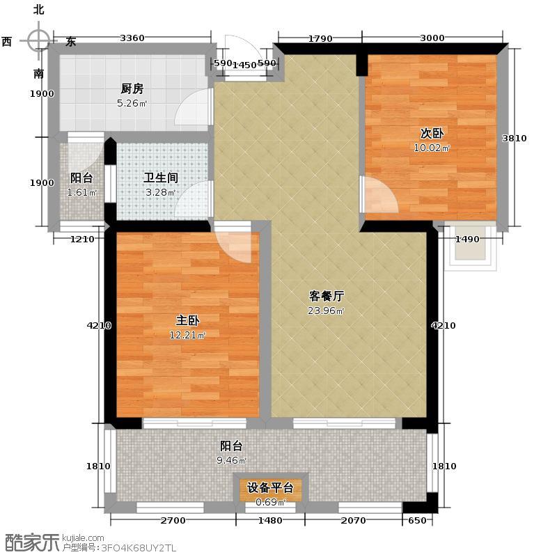 中信新城88.00㎡F2户型2室2厅1卫