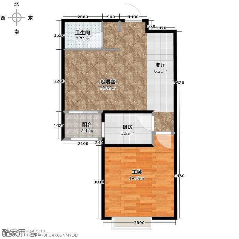 凯景花园65.91㎡悠然空间户型10室