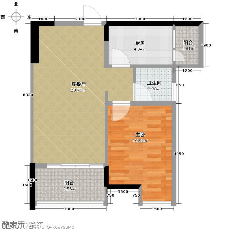 富力城46.00㎡E2栋7号户型1室2厅1卫